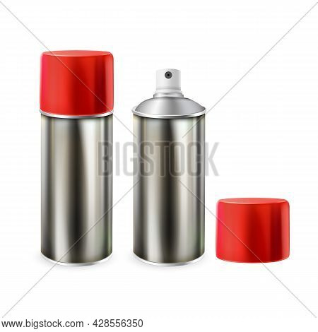 Paint Blank Opened And Closed Bottles Spray Vector. Metal Package With Color Paint. Painter Chemical