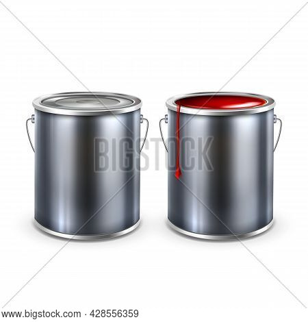 Paint Blank Opened And Closed Buckets Cap Vector. Metallic Container With Color Paint. Painter Chemi