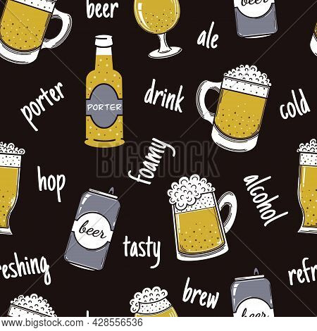 Beer In Various Containers Seamless Vector Pattern. Alcohol In A Mug, Glass, Can, Bottle. Foamy Drin