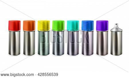 Multicolored Paint Blank Bottles Spray Set Vector. Metal Package With Different Colorful Paint. Pain