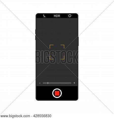 Realistic Camera Screen Interface On Smartphone. Mobile Application Design. Camera Settings Recordin