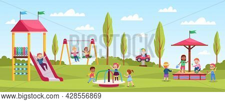 Children Playground Playing. Happy Girls And Boys Play Playing Area, Outdoor Activities, Kindergarte