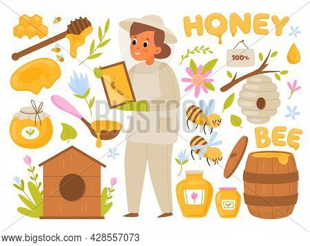 Bee Products. Organic Honey, Healthy Sweets, Beekeeper Woman Collects Honey From Hives, Natural Suga