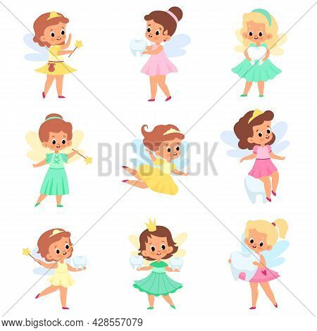 Little Tooth Fairy. Kids Sorceress Characters, Small Cute Elf Girl With Wings, Fabulous Princesses W