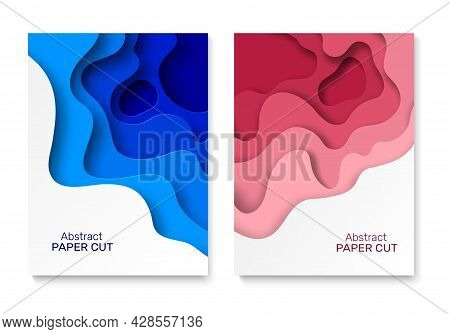 Cut Out Background Paper. Abstract Paper Cut Shapes, Colourful Curved Layers With Shadow. Blue And P