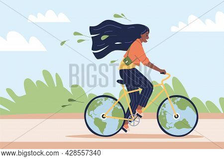 Eco-friendly Transport. Happy Woman Ride Bicycle In Park, Ecological Green City Vehicle, Young Girl