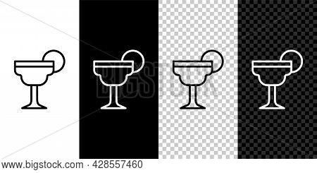 Set Line Margarita Cocktail Glass With Lime Icon Isolated On Black And White, Transparent Background