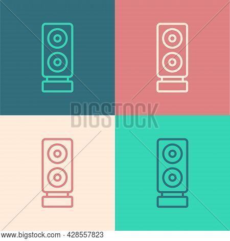 Pop Art Line Stereo Speaker Icon Isolated On Color Background. Sound System Speakers. Music Icon. Mu