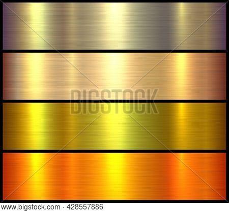 Gold metal textures set, shiny golden lustrous metallic backgrounds, brushed metal illustration.