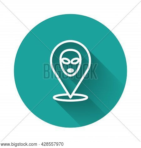White Line Alien Icon Isolated With Long Shadow Background. Extraterrestrial Alien Face Or Head Symb