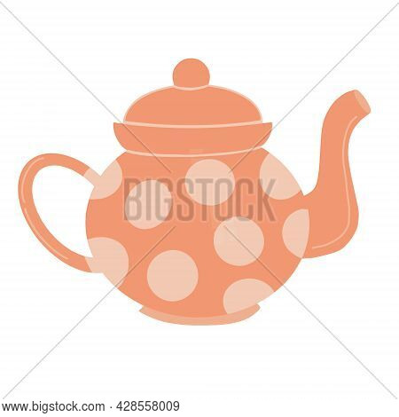 Tea Pot Vector Illustration Isolated On White Background. Cute Hand Drawn Ceramic Peach Color Teapot