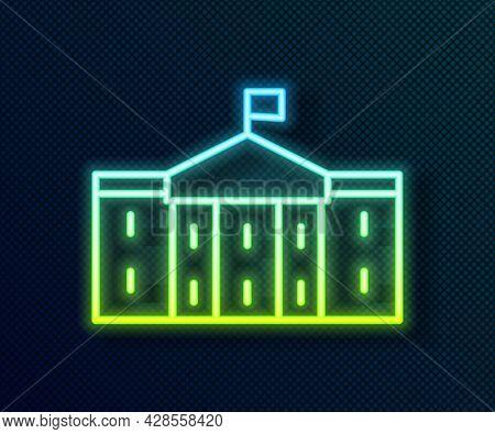 Glowing Neon Line United States Capitol Congress Icon Isolated On Black Background. Washington Dc, U