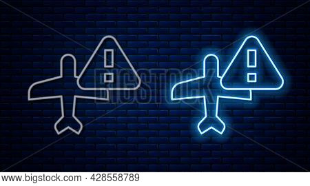 Glowing Neon Line Warning Aircraft Icon Isolated On Brick Wall Background. Faulty Plane. Flying Proh