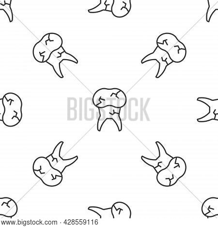 Grey Line Tooth With Caries Icon Isolated Seamless Pattern On White Background. Tooth Decay. Vector