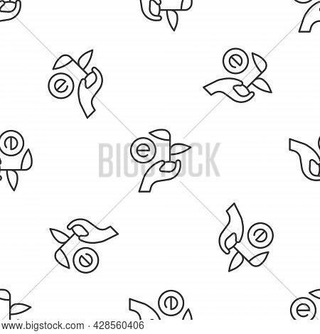 Grey Line Leaf In Hand Of Environmental Protection Icon Isolated Seamless Pattern On White Backgroun