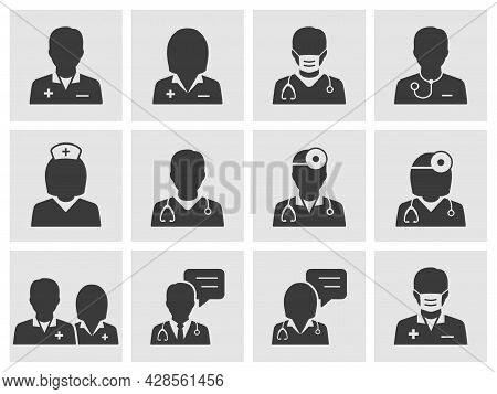 Doctor And Nurse Icon Set. Collection Of Consultant, Therapist, Surgeon, Professional And More. Vect