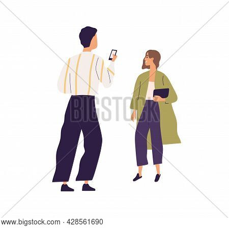 Man Taking Photo Of Woman With Smartphone. Happy Girlfriend Posing While Boyfriend Making Shot With
