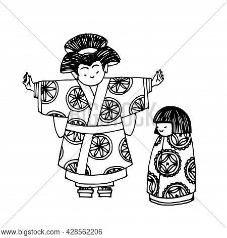 Japan Women In Kimono, Funny Cute Characters In Traditional Clothing, Vector Illustration With Black