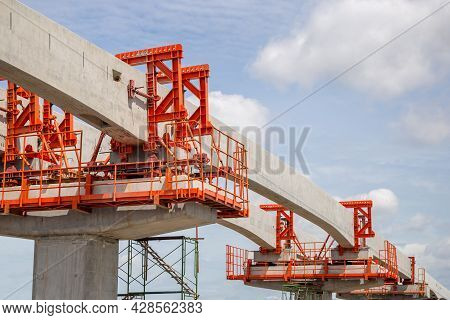 Infrastructure Construct Concepts, Construction Of A Mass Transit Train Line In Progress With Heavy