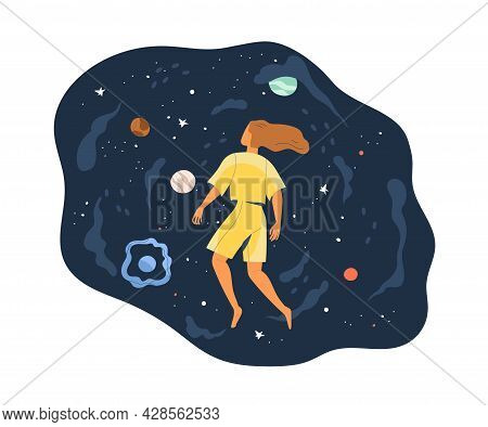 Concept Of Facing With New And Unknown. Flying Person Exploring Space And Discovering Mysteries. Hum