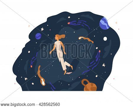 Person Walking In Unknown Space, Exploring And Discovering Mysteries. Concept Of Studying New. Woman