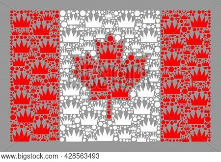 Mosaic Rectangle Canada Flag Created Of Crown Elements. Luxury Vector Collage Canada Flag Designed F