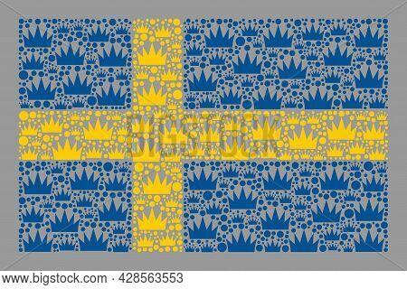 Mosaic Rectangular Sweden Flag Designed Of Royal Items. Brand Vector Collage Sweden Flag Constructed