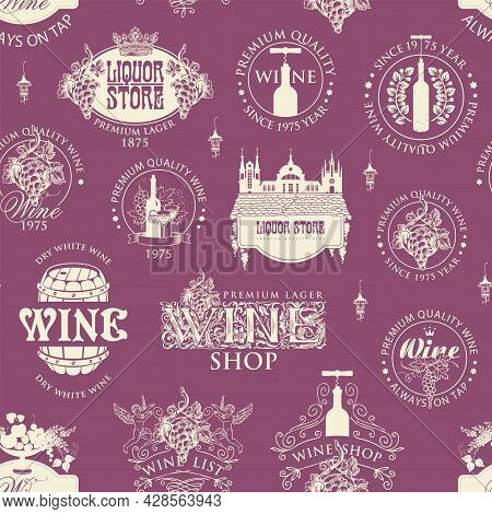 Seamless Pattern On The Theme Of Wine And Liquor Stores. Monochrome Vector Background With Wine Labe