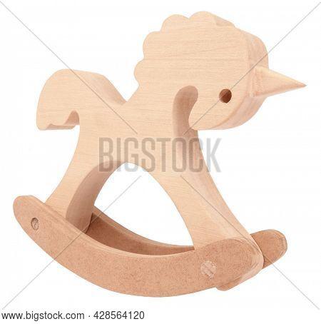 Rocking unicorn wooden toy vintage childhood item isolated on white background