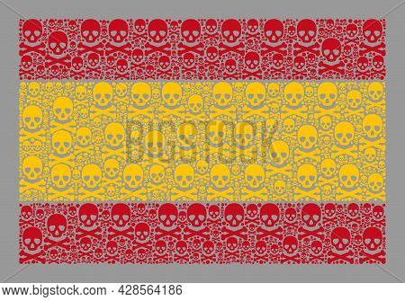 Mosaic Spain Flag Created With Toxic Items. Mortal Vector Rectangular Mosaic Spain Flag Created For