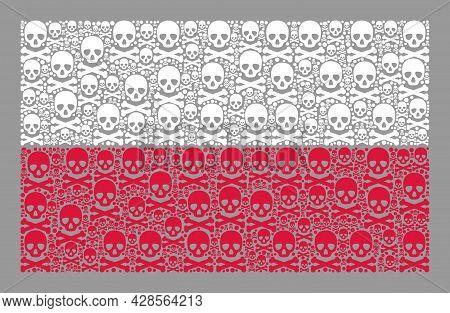 Mosaic Poland Flag Designed Of Skull Icons. Hazard Vector Rectangle Mosaic Poland Flag Combined For