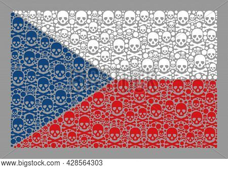 Mosaic Czech Flag Designed Of Toxic Elements. Mortal Vector Straight Collage Czech Flag Designed For