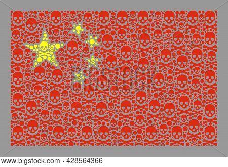 Mosaic China Flag Designed Of Toxic Icons. Hazard Vector Rectangular Collage China Flag Designed For