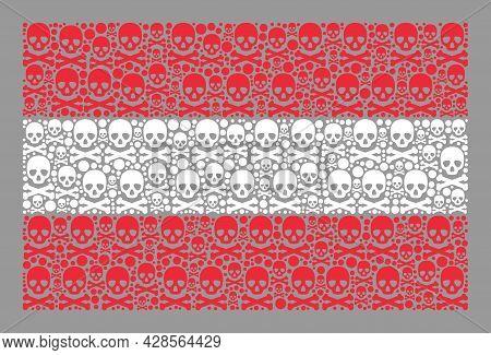 Mosaic Austria Flag Designed With Toxic Elements. Pirate Vector Rectangular Mosaic Austria Flag Desi