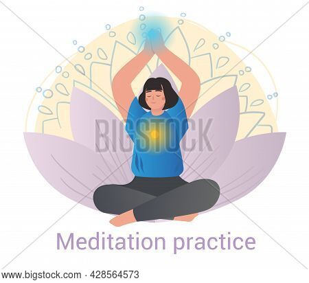 Tranquil Woman Practicing Meditation With Spiritual Auras Seated In The Lotus Pose In A Healthy Life