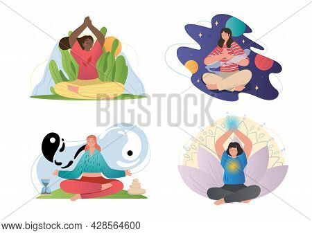 Set Of Four Different Scenes Of Serene Woman Seated In Lotus Pose Meditating With Spiritual Auras An