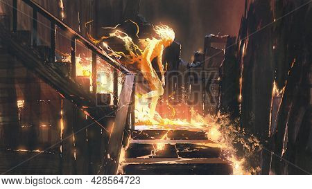 The Fire Human Walking Down The Stairs In An Abandoned House, Digital Art Style, Illustration Painti