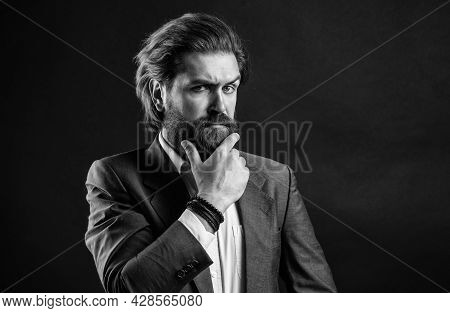 Handsome And Successful Man In Expensive Suit. He In Shirt With Hand Watch. Stylish Successful Man I