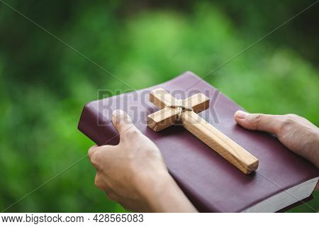 Women Pray To God With The Bible And The Cross Of The Morning. Woman Pray For God Blessing To Wishin