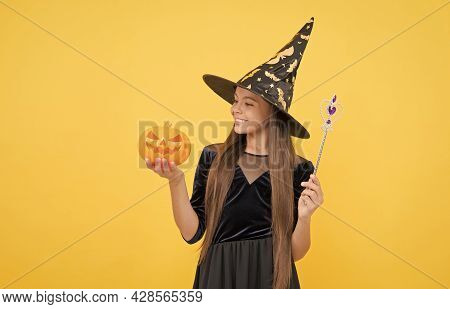 Childhood Autumn Holiday. Teen Girl Ready To Celebrate. Costume Party Fun. Happy Halloween. Child In