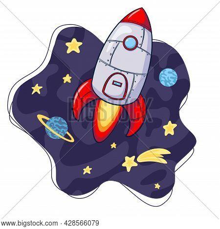 Rocket In Space Cartoon Illustration. Cartoon Rocket Illustration. Hand Drawn Space Ship Icon. Rocke