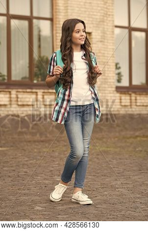 Definitely A Girl. Fashion Look Of Child Girl. Little Girl Back To School. Informal And Non-formal E