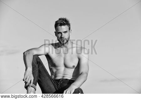 Resting Time. Athletic Sportsman Has Sexy Body. Muscular Man At Sunset. Macho Man Has Naked Torso. S