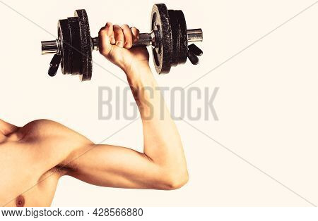 Weak Hand Man Lift A Weight, Dumbbells. Nerd Maleraising A Dumbbell. Man Hand Holding Dumbbell In Ha