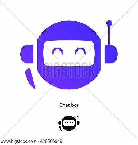 Chat Bot Symbol Set Isolated On White Background For Virtual Assistant Icon, Talk Bubble Speech Icon