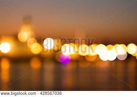 Abstract Blurred Lights Of Big City At Night, Out Of Focus City Night Landscape