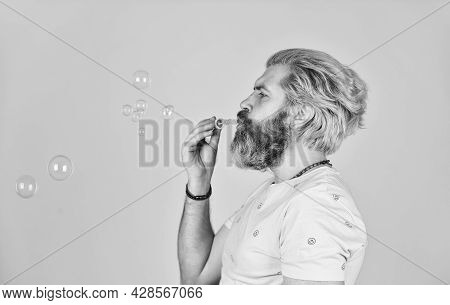 Blow Inflate Bubbles. Happiness And Joy. Good Vibes. Forever Young Guy. Positive. Infantility Concep