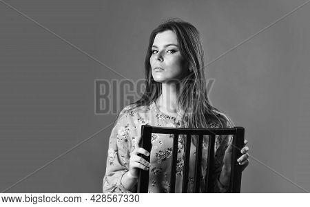Home Furniture. Gorgeous Beauty. Just Relaxing. Woman Beautiful Face. Female Fashion. Girl Long Hair