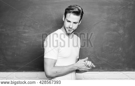 Man Teacher In Front Of Chalkboard. Teaching Could Be More Fun. Advantages For Male Elementary Teach