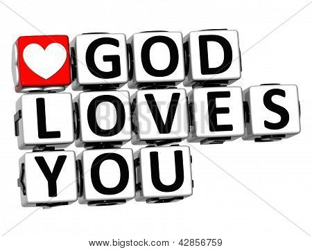 3D God Loves You Button Click Here Block Text